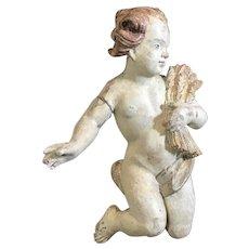 18th Century Carved Wood Cherub Baroque Putti Antique Angel