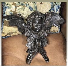 Antique Carved Wood Cherub Baroque Angel Putti Sculpture