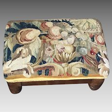 Antique French Foot Stool  17th Century Aubusson Verdure Tapestry Panel Flowers Fruit