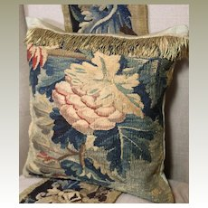 Antique French Aubusson Verdure Tapestry Cushion Flowers