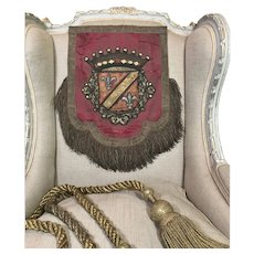 18th Century French Embroidered Armorial Banner Heraldic Coat of Arms Stumpwork Crown