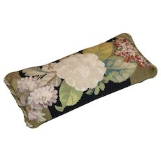 Antique Victorian Tapestry Cushion English Rose Flowers