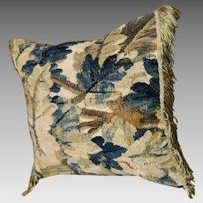 Antique French Aubusson Verdure Tapestry Pillow Gold Metallic Tassel Trim