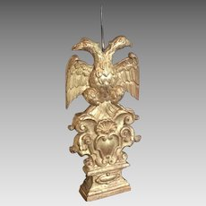 Antique French Candle Holder Carved Giltwood Double Headed Eagle Baroque Candlestick