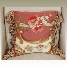 Antique French Aubusson Tapestry Pillow Flowers