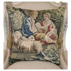 Antique French Aubusson Figural Tapestry Pillow Shepherd Sheep