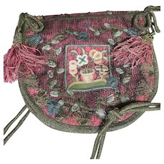 18th Century Embroidered Purse Antique Reticule Bag