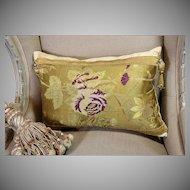 Antique English Spitalfields Silk Pillow French Passementerie Trim