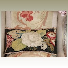 Antique Victorian Tapestry Pillow English Needlework Roses Flowers