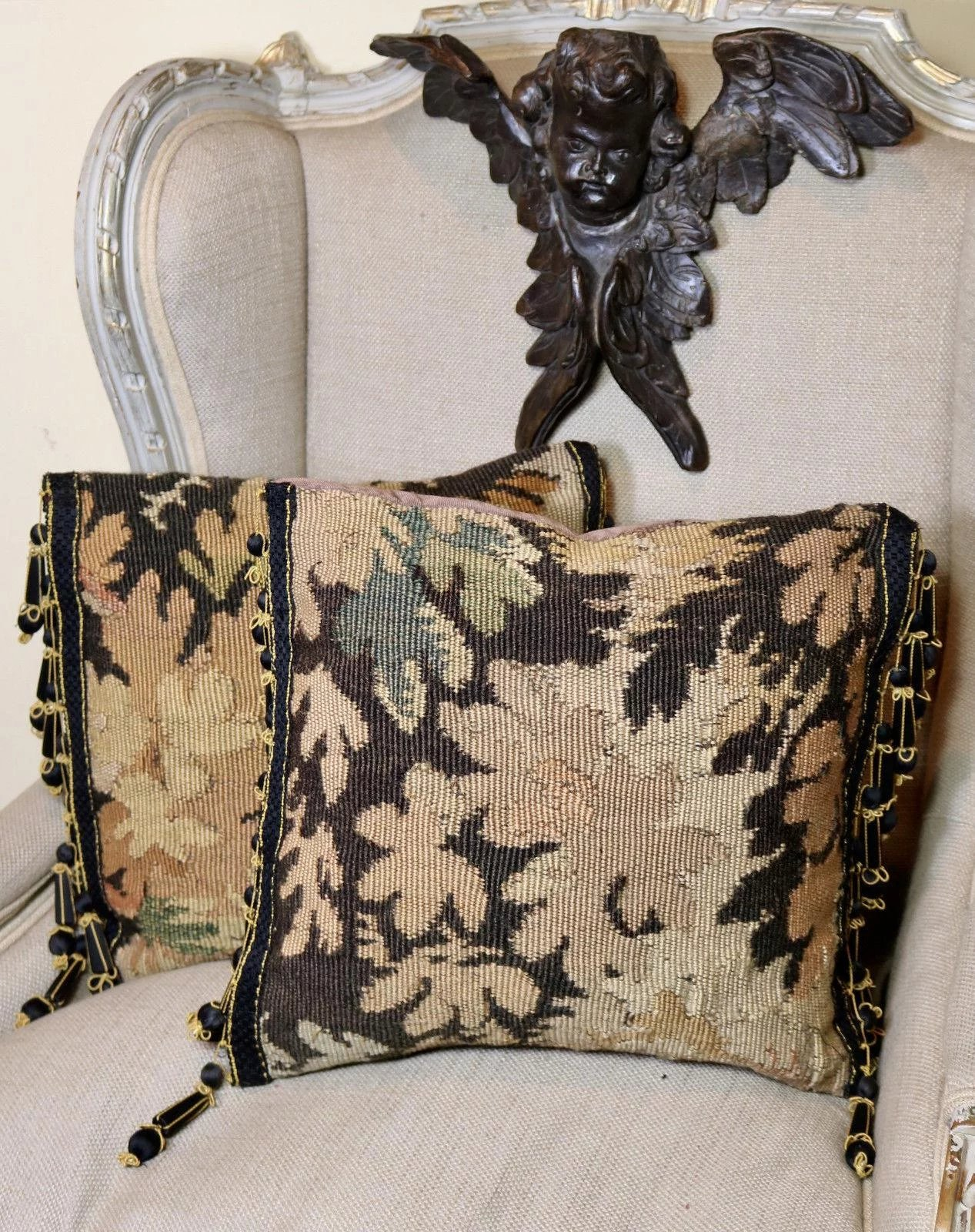 indian antique french cushions. Two Antique French Aubusson Tapestry Pillows Passementerie Trim. Click To Expand Indian Cushions E