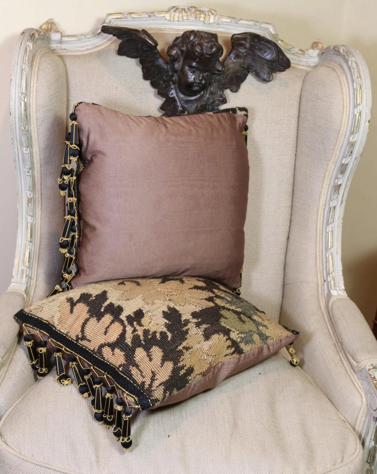indian antique french cushions. Two Antique French Aubusson Tapestry Pillows Passementerie Trim. Click To Expand Indian Cushions