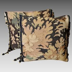 Two Antique French Aubusson Tapestry Pillows French Passementerie Trim