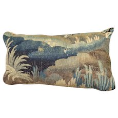 Antique French Aubusson Verdure Tapestry Pillow
