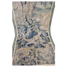 17th Century French Aubusson Verdure Tapestry Wall Hanging Griffin Birds Castle