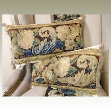 Two Antique French Aubusson Verdure Tapestry Pillows Flowers Gold Metallic Trims