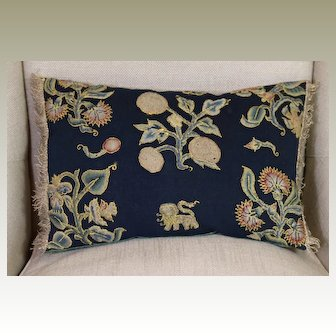 Antique English Embroidered Pillow Jacobean Needlework Slips Flowers Bugs Lion