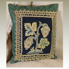 Antique Pillow 17th Century English Needlework Slip Flower Metallic Lace Trim