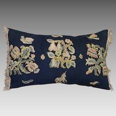 Antique Pillow 17th Century English Embroidered Slips Flowers Unicorn Bugs Metallic Fringe Trim