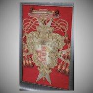 17th Century Ecclesiastical Embroidered Cardinals Coat of Arms Heraldic Needlework