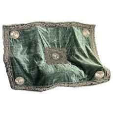 17th Century Italian Embroidered Wall Hanging Silk Metallic Needlework Cherubs