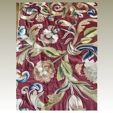 18th Century Italian Embroidered Silk Panel Flowers
