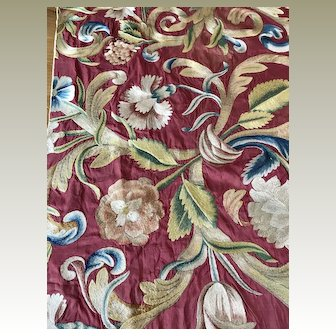 18th Century Italian Embroidered Silk Panel Flowers