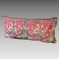 Antique Italian Pillow 18th Metallic Silk Embroidery