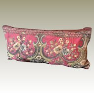 Antique Italian Pillow 18th Metallic Silk Embroidery
