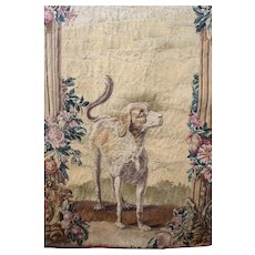18th Century French Aubusson Tapestry Wall Hanging  DOG Flower Garlands