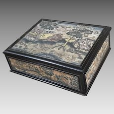 Antique English Lace Box 17th Century Embroidered Stumpwork Needlework