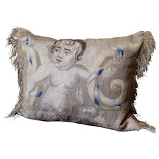 Antique Pillow Aubusson Tapestry Panel Circa 1700 CHERUB