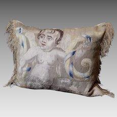 Antique Pillow Aubusson Tapestry Panel Circa 1700 CHERUB