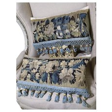 Two Antique Pillows Antique French Aubusson Verdure Tapestry Circa 1700 French Passementerie Trim