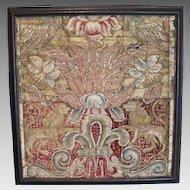 17th Century Velvet Silk Embroidered Armorial Panel Birds Heraldic Lions Passant