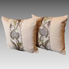 PAIR Pillows 18th Century Italian Embroidered Silk Panels Antique Homespun Linen
