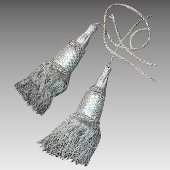 Antique French Silver Metallic Tassels Tie Backs