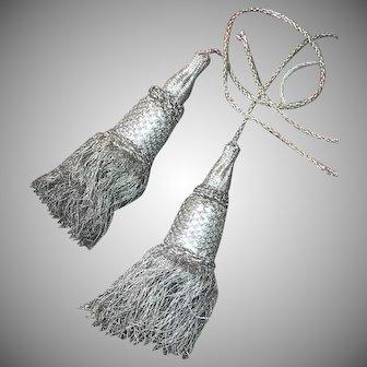 Antique French Silver Metallic Tassels Tie Backs
