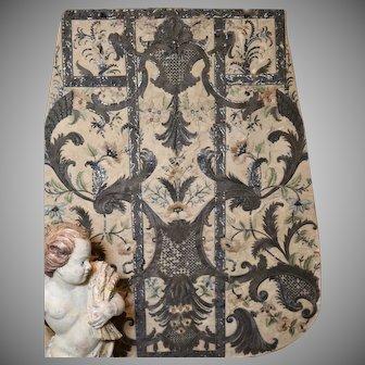18th Century Italian Embroidered Chasuble Apron Antique Religious Needlework