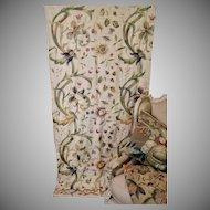 English Embroidered Crewelwork Wall Hanging Tree of Life Homespun Linen