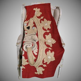 HUGE  Antique French Silk Applique Heraldic Crown Coronet