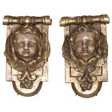 Antique French Carved Giltwood Cherubs Baroque Wood Angels PAIR