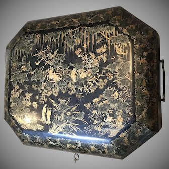 Antique Chinese Lacquer Sewing Box Chinoiserie Decor