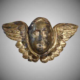 Antique French Carved Gilt Wood Angel