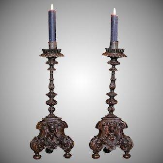 17th Century Italian Carved Wood Candlesticks Cherubs PAIR