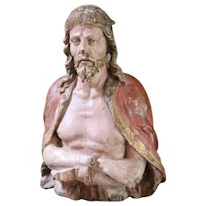 18th Century French Carved Wood Bust Christ Archictectural Salvage Religious Church Statue