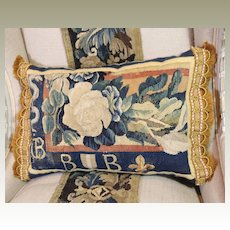 Antique French Armorial Tapestry Pillow 17th Century Aubusson Heraldic Panel