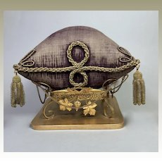Antique French Display Pillow and Ormolu Stand for Santos Crown Tiara