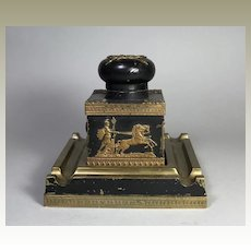 Antique French Empire Bronze Inkwell Napoleonic Ormolu Mounts