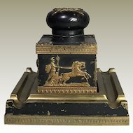Antique French Empire Bronze Inkwell Napoleonic Ormolu Mounts