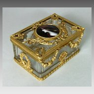 Antique French Crystal Dore Bronze Casket Enamel Plaque